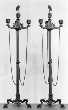 Candelabra with Three Branches, Chains, and a Stork Finial