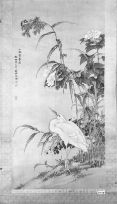 White Heron and Sparrows among Flowers