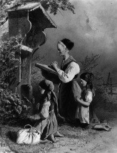 Old Peasant Woman and Girls Kneeling