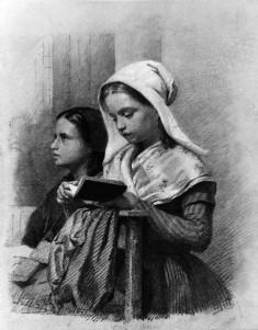 Girls At Prayer In Church