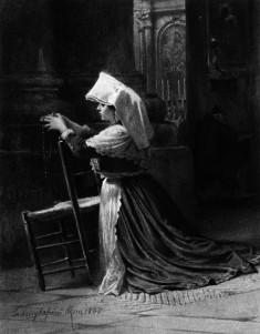 Italian Woman Kneeling In Prayer
