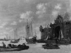 Seaport with Boats and Figures