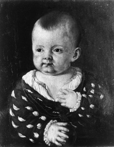 Portrait of an Infant Boy Holding an Apple