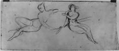 2 female figures supporting a medallion