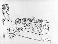 Court, girl sketching a sarcophagus