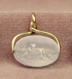 Scarab with a Lioness Set in a Swivel Pendant