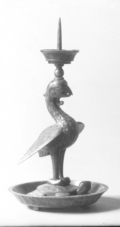 Pricket Candlestick with Phoenix standing on tortoise and snake