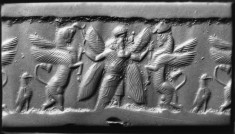 Cylinder Seal with Winged God Wrestling Winged Horses