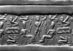 Cylinder Seal with Two Seated Figures with Sphinx and Birds