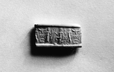 Cylinder Seal with One Kneeling and Two Standing Figures with Birds