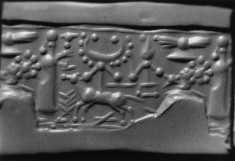 Cylinder Seal with Drilled Dots, Winged Disc, Figures and Animals