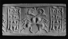 Cylinder Seal with Two Goats Intertwined