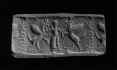 Cylinder Seal with a Hero Holding Two Beasts