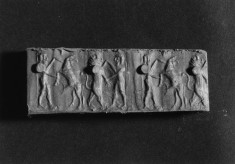 Cylinder Seal with a Lion and a Hero, a Stag and a Hero