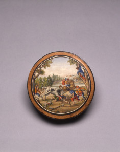 Snuffbox with Miniature Mosaic of Men Fighting a Bull
