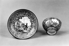 Cup and Saucer with a European Scene