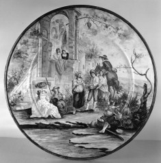 One of a Pair of Platters with a Pastoral Scene