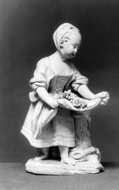 Statuette with Little Girl with Fruit in Her Apron