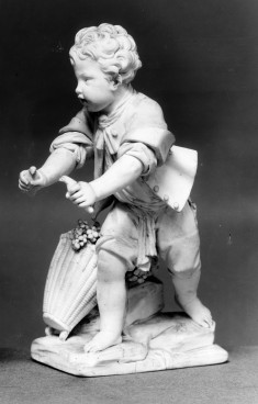 Statuette with Boy with Birds and Basket of Grapes