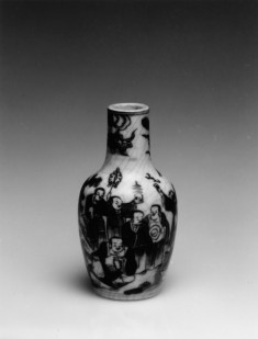 Snuff Bottle with Buddhist Saints, One Carried Aloft by a Phoenix