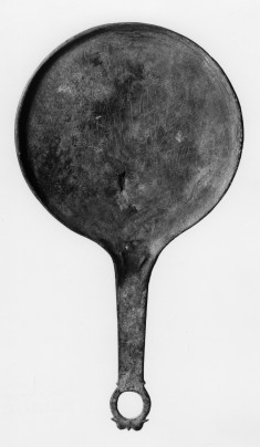 Hand Mirror with Engraved Scene of Two Warriors
