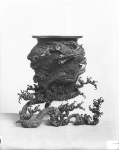 Flower Jar with a Dragon Rising from the Waves