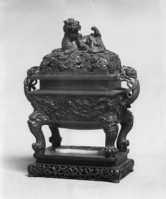 Covered Incense Burner with Dragons Pursuing Jewel and Kirin atop Lid