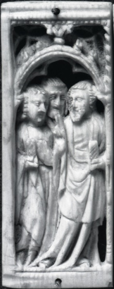 The Risen Christ with two Apostles