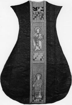 Orphrey on chasuble; Crucifixion, St. John the Baptist