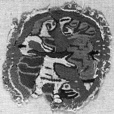 Textile Roundel with Man Fighting a Lion