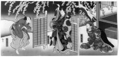 Three Part Print: Kore wa kore wa hana no yoshinoyama