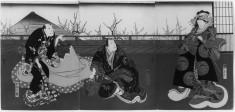 Three Part Woodblock Print: Kuruwa bunsho