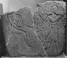 Corner Relief Fragment with King Ptolemy II Philadelphos, Mehyet, and Onuris-Shu
