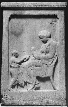 Funeral Stele with a Seated Woman and Child
