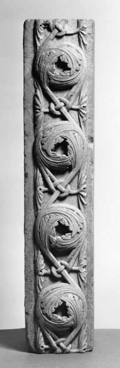 12th-Century Style Architectural Fragment with Carved Leaf Ornamentation