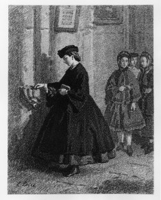 Girl at Holy Water Stoup in Church