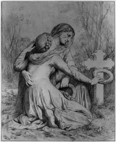 Mourning Women Kneeling at Grave