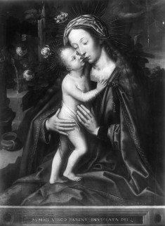 Virgin and Child by a Fence of Roses