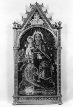 Madonna and Child Enthroned Before a Rose Hedge