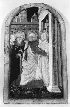 The Meeting of Joachim and Anne at the Golden Gate, in the Presence of SS. Margaret and Anthony Abbot