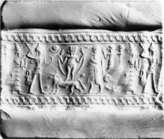 Cylinder Seal with Deities and Worshippers