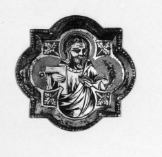 Apostle holding l-shaped object
