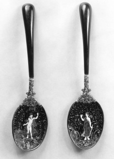 Pair of Spoons with Jupiter and a Personification of Perspective