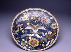"Cloisonne Enamel Dish Depicting the ""Takara-Mono"" (""Precious Things""), Symbolic of Health, Prosperity, and Longevity (treasures of the gods of good fortune)"