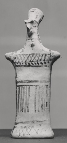 Figurine with Pinched Face and Geometric Decorations