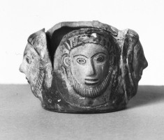 Vase with Three Mold-Made Bearded Faces
