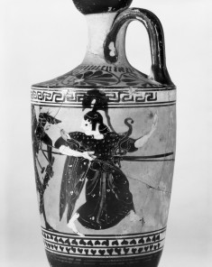 Lekythos with Apollo and Herakles Fighting over the Delphic Tripod