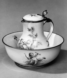 Bowl and Water Pitcher with Putti Playing Music in a Pastoral Setting
