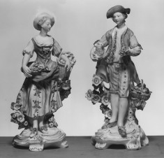Woman with a Basket of Eggs and Young Man with a Lamb and a Fruit Basket
