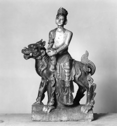 Roof Tile with Bodhisattva seated on lion-dragon